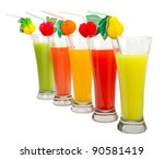 a row of colorful juices | Shutterstock . vector #90581419