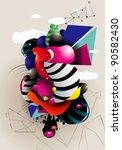 color shapes original vector   Shutterstock .eps vector #90582430