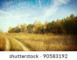 Rural Landscape With Dirt Road...