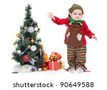 A Baby Dressed As A Elf. ...