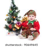 A baby dressed as a elf.  isolated. - stock photo