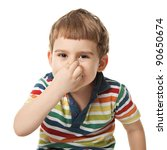 cheerful smiling little boy touches the nose. Isolated on white background.  shooting in the studio - stock photo