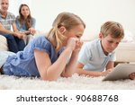 children using a tablet... | Shutterstock . vector #90688768