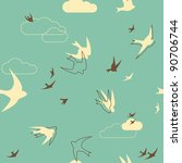 Seamless Pattern With Birds In...
