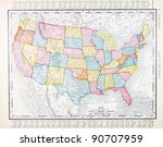 a map of the united states from ... | Shutterstock . vector #90707959