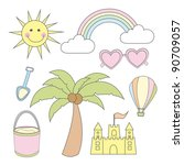 summer cartoons elements over... | Shutterstock .eps vector #90709057