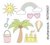 summer cartoons elements over...   Shutterstock .eps vector #90709057