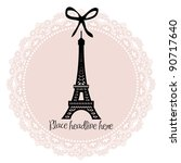 Eiffel tower border template vector/illustration - stock vector