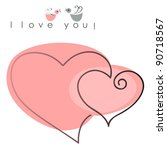 valentines hearts two shapes on pink background with text -  I love you. Vector illustration of Valentine card