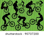Mountain bike trial riders silhouettes illustration collection background - stock vector