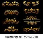 golden vintage floral elements...   Shutterstock .eps vector #90761048