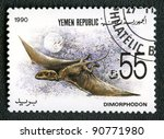 YEMEN REPUBLIC - CIRCA 1990: A stamp printed in Yemen shows Dimorphodon, series devoted to prehistoric animals, circa 1990. - stock photo