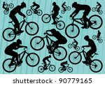 Mountain bike riders bicycle silhouettes illustration collection background - stock vector