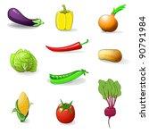 the set of vegetables vector | Shutterstock .eps vector #90791984