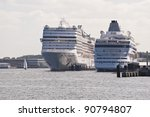 cruiser in port of kiel  germany | Shutterstock . vector #90794807
