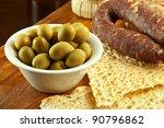 Big green sardinian olives - stock photo