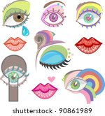 set of fancy artistic eyes and... | Shutterstock .eps vector #90861989