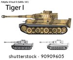 german tiger i tank from the... | Shutterstock .eps vector #90909605