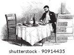 man on dinning table   vintage... | Shutterstock .eps vector #90914435