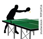 ping pong player silhouette six ... | Shutterstock .eps vector #90916916