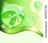 green background with plant and ... | Shutterstock . vector #90955766