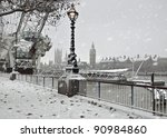 Winter  in London. Snow near Big Ben - stock photo