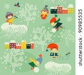 children in winter | Shutterstock .eps vector #90985535
