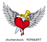 heart with sword and wings in... | Shutterstock .eps vector #90986897