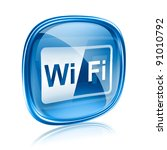 wi fi icon blue glass  isolated ... | Shutterstock . vector #91010792