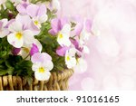 Spring Basket With Pink And...