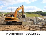 old dredge digging the earth ... | Shutterstock . vector #91025513