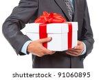 Businessman Present White Gift...