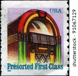Small photo of USA - CIRCA 1968: A first-class letter presort rate (25-cent) stamp shows juke box, circa 1968