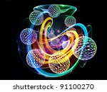 Interplay of spheres of binary numbers and abstract graphic element on the subject of digital technologies and computing - stock photo