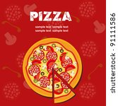 pizza menu template  vector... | Shutterstock .eps vector #91111586