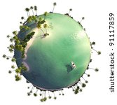 Paradise island globe as concept for quiet exotic travel getaway isolated on white - stock photo