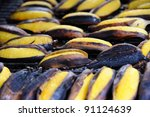 Grilled Banana (Thai's  dessert) in Bangkok, Thailand. - stock photo