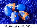 easter eggs on blue decoration... | Shutterstock . vector #9113851