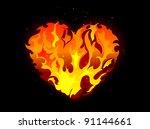 Burning Heart Against Black...