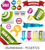 web badges ribbons banners... | Shutterstock .eps vector #91165721