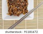 Beoseot Jorim - Korean side dish (banchan) of  mushrooms simmered in soy sauce - stock photo