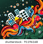 imagination color town vector | Shutterstock .eps vector #91196168