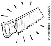 Doodle style carpenter's saw illustration in vector format suitable for web, print, or advertising use. - stock vector