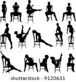 sexy chair silouettes   vector | Shutterstock .eps vector #9120631