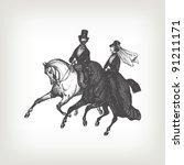 Engraving Vintage Noble Horse...