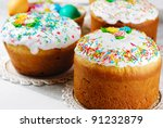 Easter cake and eggs on the bright background - stock photo