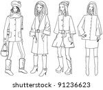 set with sketches of fashion... | Shutterstock .eps vector #91236623