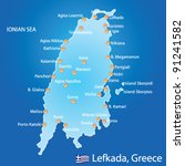 Island of Lefkada in Greece map on blue background - stock vector