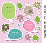 Cute Childlike Stickers. Vecto...