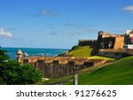 district of Old San Juan, Puerto Rico, including an old cemetery - stock photo